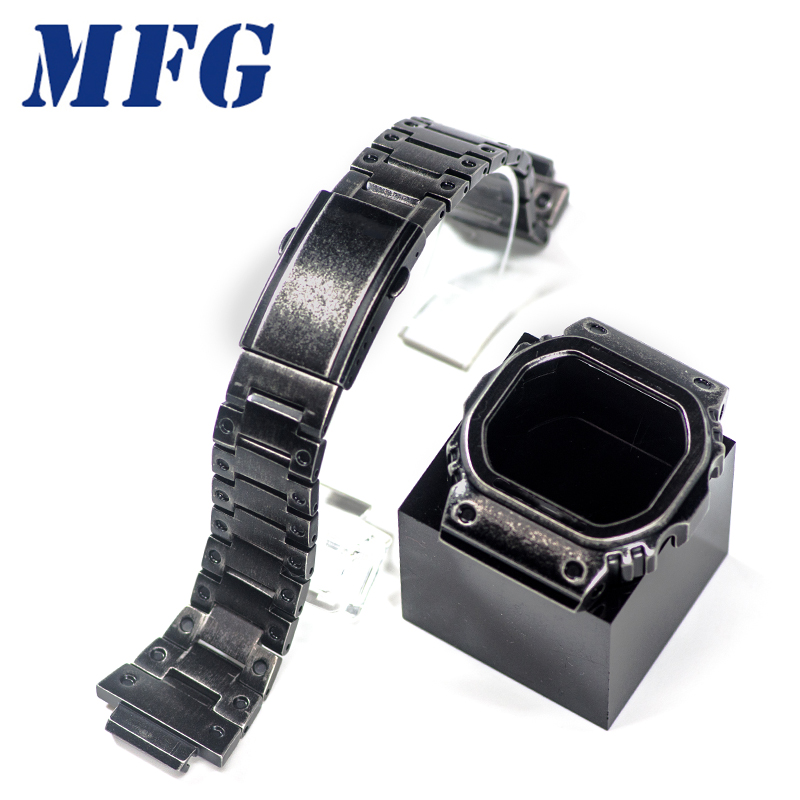 GWM5610 DW5600 Retro Black Watchband GW5000 Watch Strap & Case Bezel Set Metal Stainless Steel Bracelet Steel Belt Accessories
