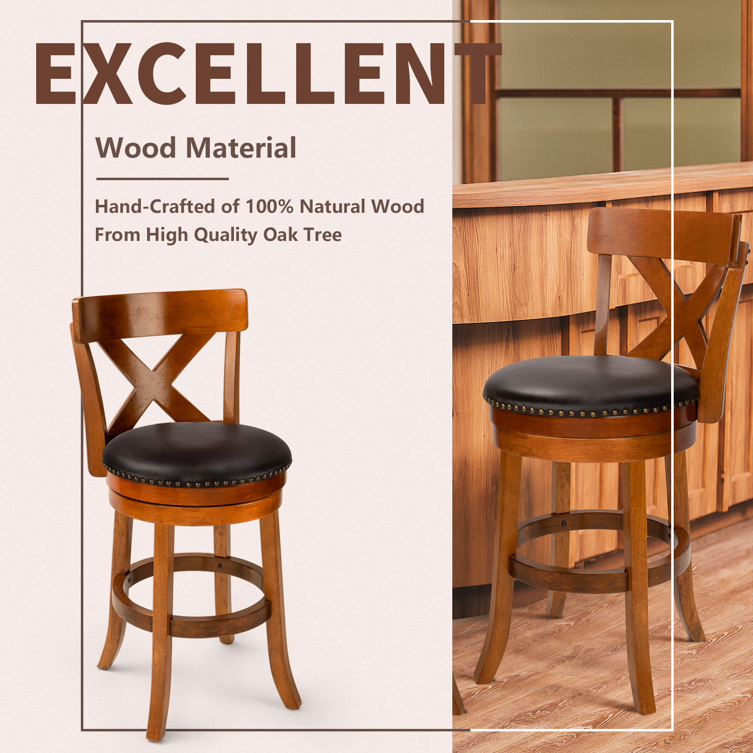 Furgle Natural Wood Bar Stool 24'' 29