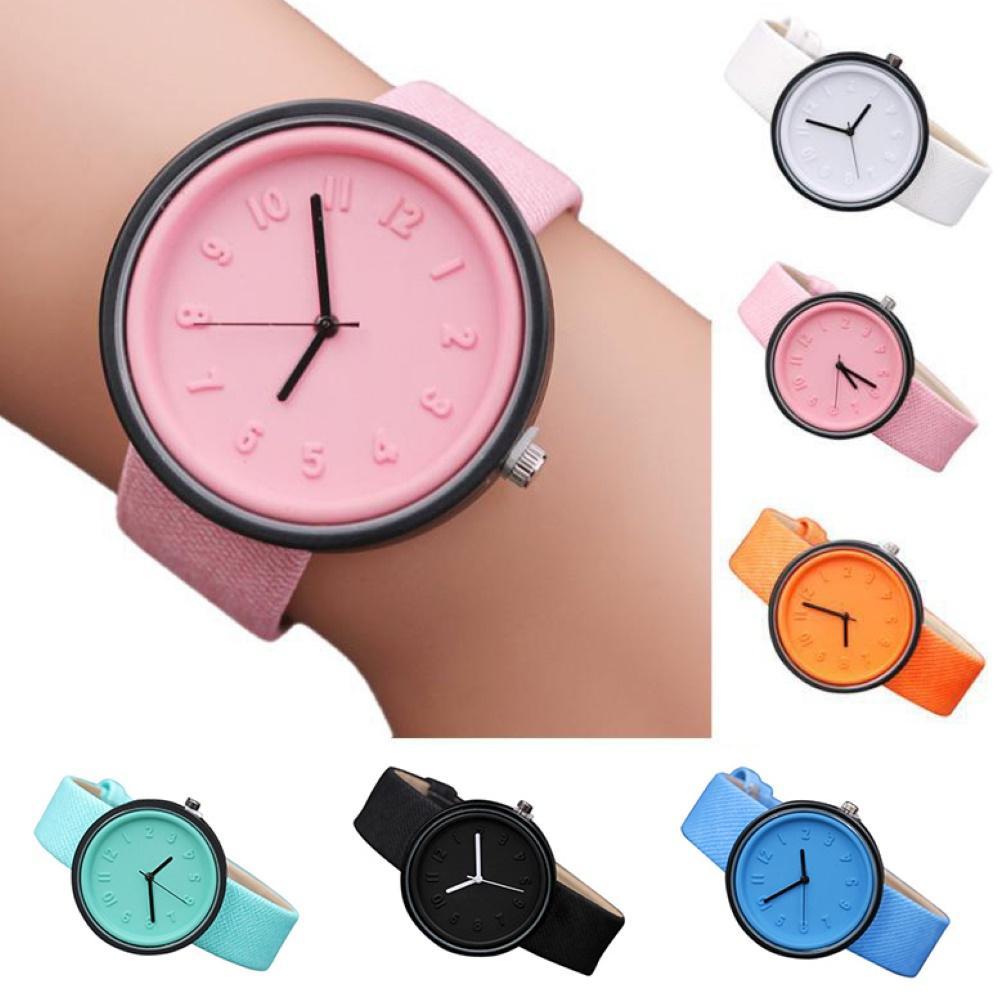 Fashion Women Watches Round Dial Arabic Numbers Women Watch Canvas Strap Quartz Watch for Women Wristwatch relojes para mujer