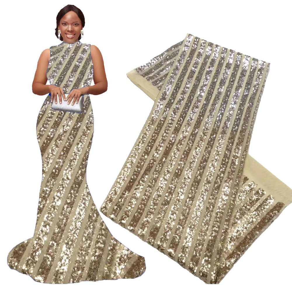 Gold Silver African Sequin Lace Fabric 2020 High Quality Lace French Net Embroidery Tulle Lace Fabric for Nigerian Wedding Party