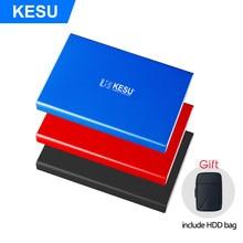 Kesu 2tb hdd 1tb 500gb disco rígido externo usb3.0 hdd 320g 250g 160g 120g 80g armazenamento para pc, mac, tv incluem hdd saco presente