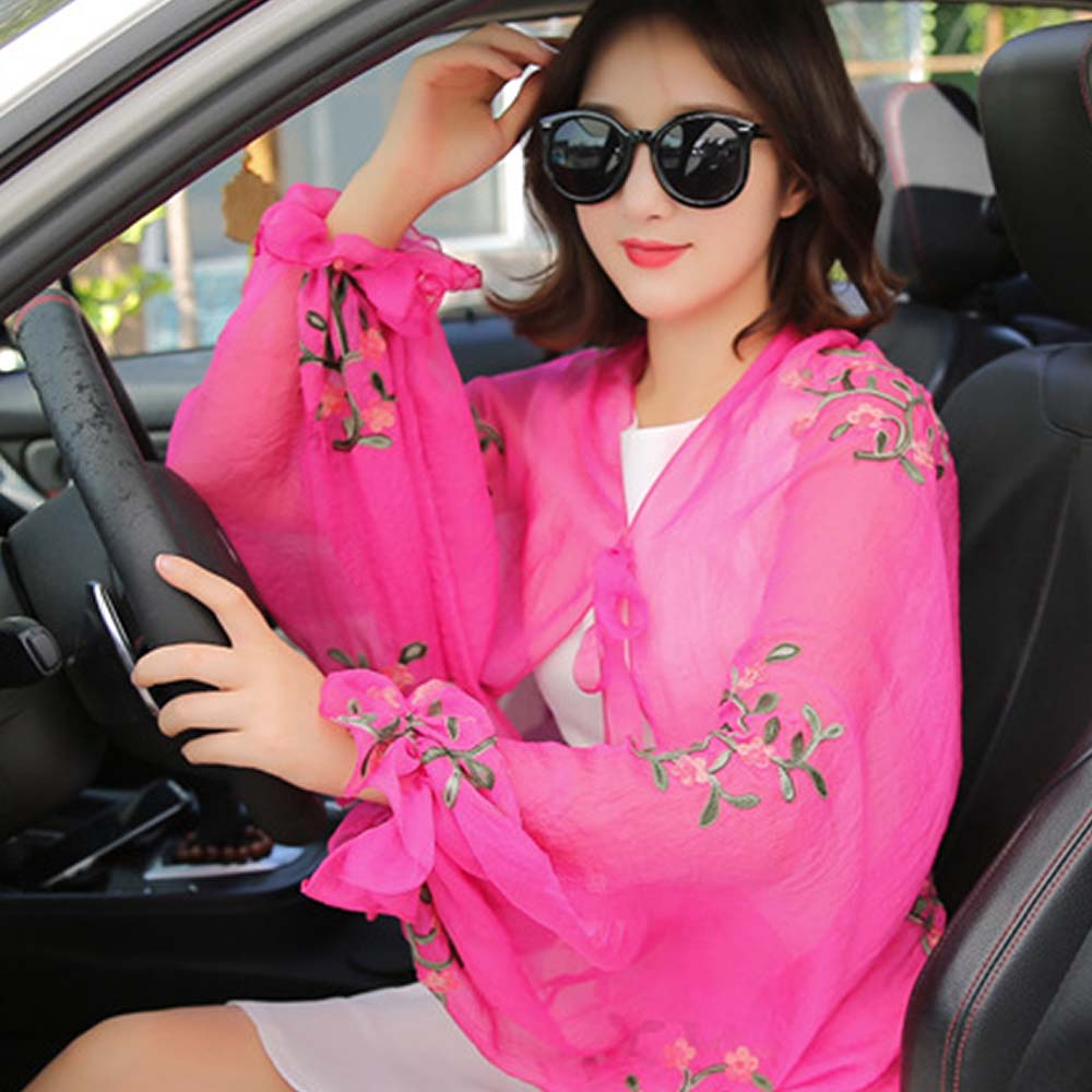 Chiffon Floral Scarves Shawl Women Summer Thin Style Embroidery Beach Sunscreen Scarf Drive lacing Blouse