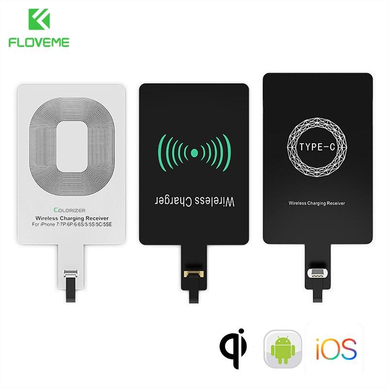 Floveme receptor de carregamento sem fio qi, receptor para iphone 7, 6 plus, 5, 5S, android, micro usb, tipo c módulo adaptador