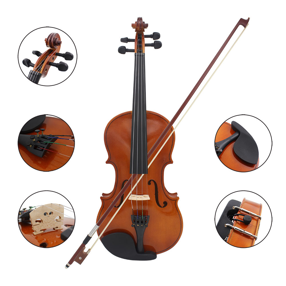 All Wood Violin Solid Wood Popularization Violin First Learning To Practice Natural Color And Light Violin Musical Instrument