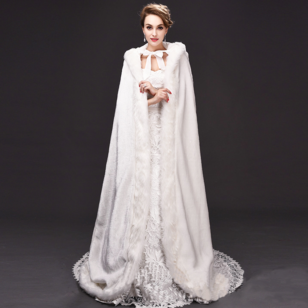 Women Warm Faux Fur Trim Winter Bridal Cape Long Wedding Cloaks Hooded For Christmas Thermal Thicken Outdoor Lady Rolled Cloak