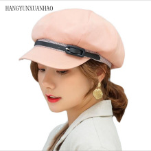 HANGYUNXUANHAO 2019 New Autumn hat women belt decoration octagonal cover hats patchwork visor caps