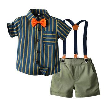 Menoea chłopcy ubrania dla dżentelmenów zestawy 2020 noworodka ubranka chłopięce dla niemowląt koszule w paski szorty w jednolitym kolorze dzieci chłopiec stroje garnitury tanie i dobre opinie COTTON Dziewczyny 25-36m 4-6y 7-12y Na co dzień CN (pochodzenie) Lato Wykładany kołnierzyk Jednorzędowe AH637-C SHORT