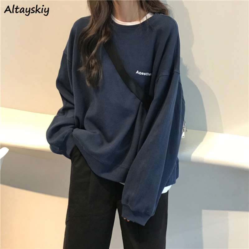 Hoodies Women O-Neck Loose BF Simple Casual Womens Sweatshirt All-match All-match Soft Comfortable Pullover Chic Daily Ulzzang