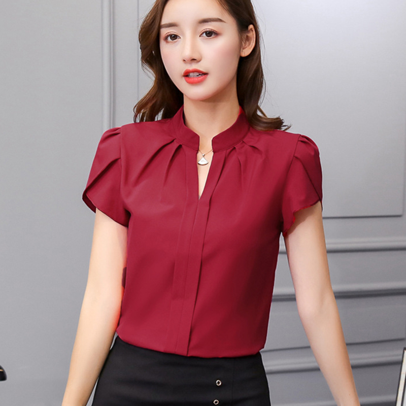 Womens Tops And Blouses Chiffon Women Blouses Short Sleeve White Shirts Korean Fashion Clothing Plus Size XXL Ladies Tops Women
