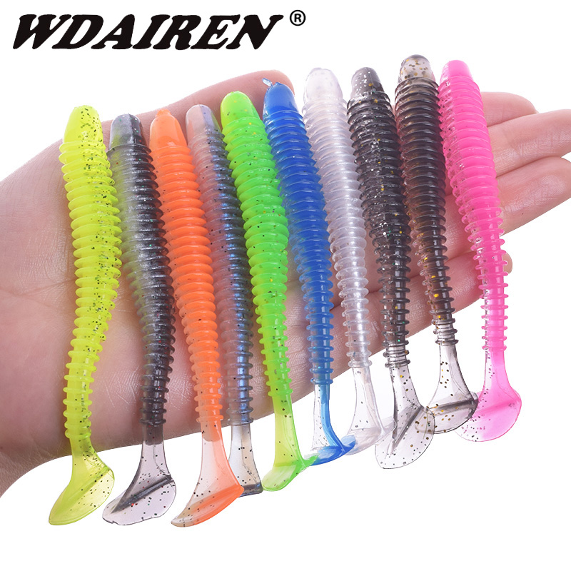 WDAIREN Swing Impact Jig Wobblers Fishing Bait 50mm 70mm 95mm Sea Fishing Soft Lures Leurre Souple Double Color Silicone Baits