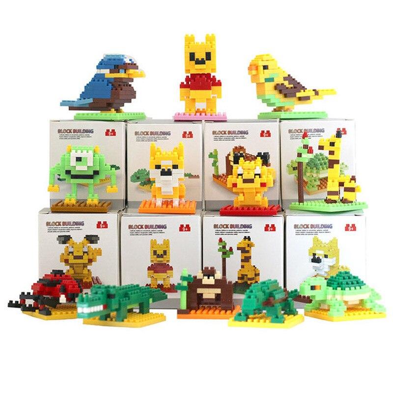 New DIY Mini Building Blocks Cartoon Animal Pet 3D Model Nano Block Brick Assembly Toy Gift Children's Educational Toys