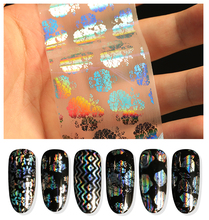 HNUIX 8 Pieces Nail Foil Transparent Paper Colorful Leaves Pink Stripe Flower DIY Laser Glitter Adhesive Sticker