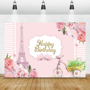 Image 2 - Laeacco Birthday Backdrops Paris Eiffel Tower Flowers Bike Customized Photography Backgrounds For Photo Studio Photophone Props