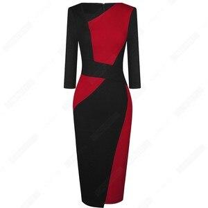 Image 2 - Vintage Women Patchwork Asymmetrical Collar Elegant Casual Work Office Sheath Slim Dress EB517