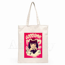 Mia Wallace Pulp Fiction Unisex Handtassen Custom Canvas Draagtas Afdrukken Dagelijks Gebruik Herbruikbare Reizen Toevallige Boodschappentas(China)