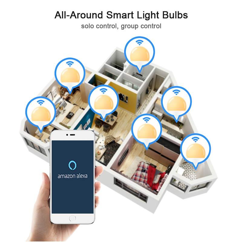 Беспроводной Умный дом светодиодные лампы Е27 15Вт умные жизни лампы освещения диммирования приложение пульт ,голосовое управление, совместимость