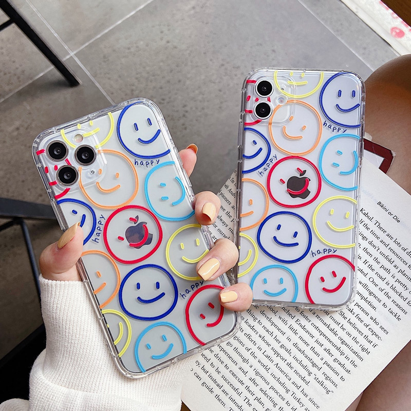 Smiling Smiley Face Cases For iPhone 12 Mini 12 11Pro Max X XR XSMax 7 8 Plus SE 2020 Stylish Three Row Smiley Face Airbag Cover