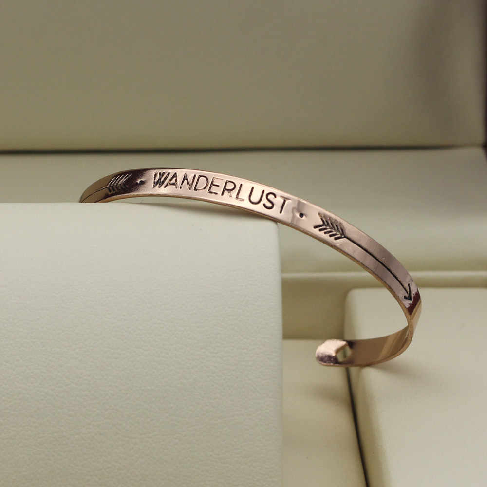 Hapiship 2018 Модные аксессуары ювелирные изделия железная буква храбрости желания смешанный дизайн манжета браслет для влюбленных подарок RAH