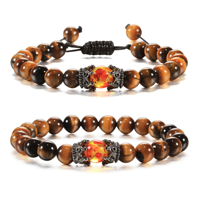 Bracelets for Men Women Natural Tiger Eye Stone Black Lava Beads Imperial Crown Braid Strand Stretch Bracelet Jewelry Adjustable