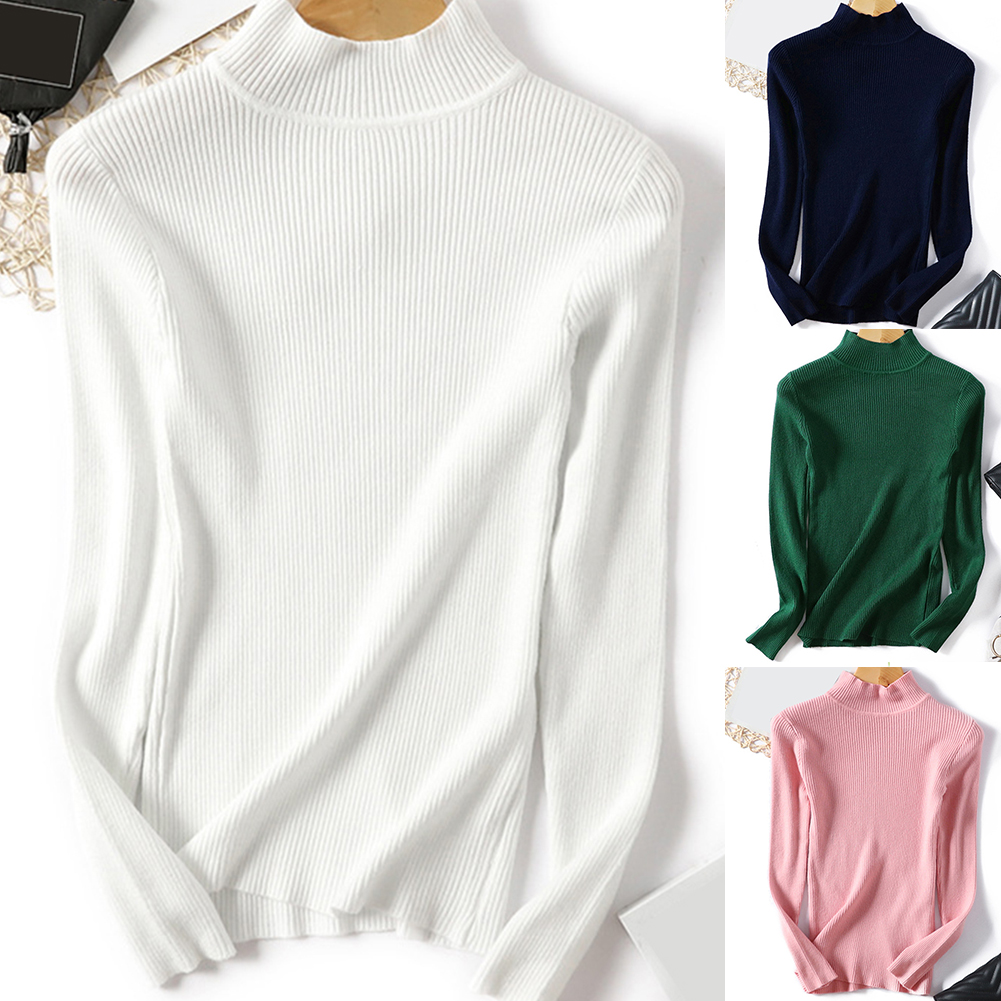 водолазка жWomen's Sweater Turtleneck Sweater Knitted Elastic Jumper New-coming Autumn Winter Turtleneck Pullovers кофта женская