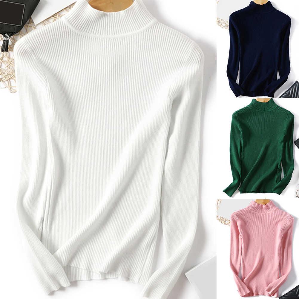 ¡Novedad de otoño-invierno! Suéter con cuello de tortuga para mujer, Jersey elástico con cuello de tortuga de moda