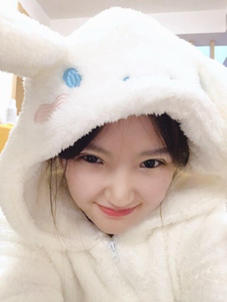 1set Cosplay Cinnamoroll Sweatshirt Two Piece Pajama Coral Fleece Thick Warm Winter Women Cartoon Kawaii White Hoodies Trousers 3