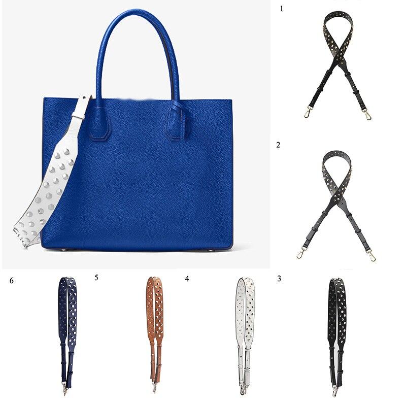 HOT Wide Shoulder Bags Belts Strap Solid Color Adjustable Length Rivet Bag Accessories PU Leather Black Bags Belts Straps Punk