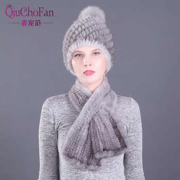 2 Pieces Hat Muffle Lady Winter Genuine Mink Fur Hats Scarves Set Knitted Women Warm Natural Mink Fur Caps Scarves Sets 2 pieces lady winter genuine mink fur bucket hats scarves set knitted women warm natural mink fur caps with fox fur ball scarf