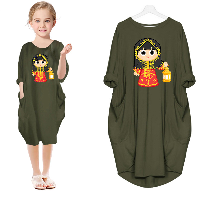 2021 Summer Ramadan Dress Baby Girls Cartoon Leisure Dress Mommy and Me Family Matching Outfits Kids Eid Mibarak Casual Clothes