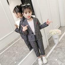 Wedding Kids Suit Blazer-Set Teenagers Girls Formal Children Fashion Plaid Pant 11-13t