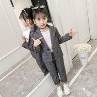 Fashion Wedding Kids Suit for Girls Formal Pant Suits for Teenagers 2PCS Blazer Set Brand Plaid Children Blazer 4 5 7 9 11 13T