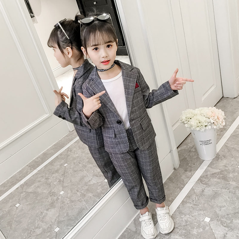 Kids Toddlers Boys Party Check Blazer Suit Jacket Casual Wedding Piano Suit 3Pcs