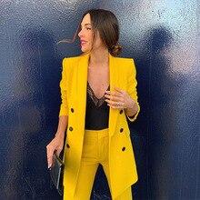Yellow Suits Blazer Feminino Wear To Work Long Sleeve Office