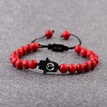 Moda preto hamsa fatima mão mal olho frisado pulseira homens vermelho natural fosco pedra ajustável pulseiras hommes namorado presente