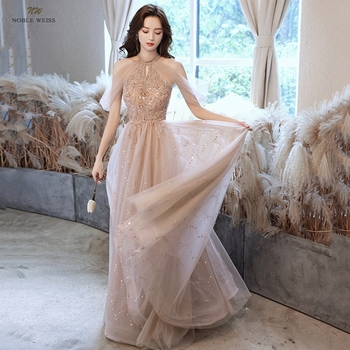 Champagne Prom Dresses  Halter  Dresses Woman Party Night  Floor-Length  Beading  Prom Dress  A-Line  Evening Dresses 3