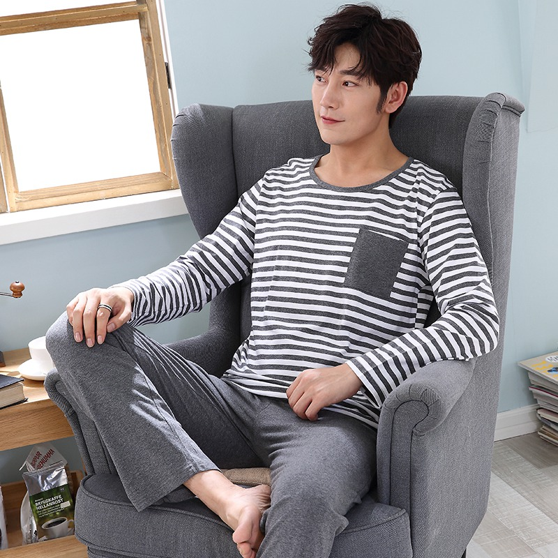 2019 Spring Autumn Casual Striped Cotton Pajamas Sets For Men Long Sleeve Pyjamas Cartoon Sleepwear Male Homewear Lounge Clothes