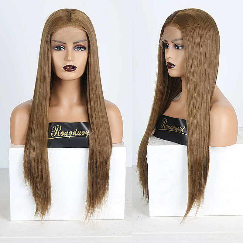 RONGDUOYI Brown Color Long Silky Straight Hair Lace Front Wig Gluless Heat Resistant Synthetic Lace Front Wigs For Black Women