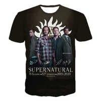 Supernatural 3D impreso manga corta Camiseta Horror TV Drama moda Casual camisetas hombres mujeres Streetwear camisetas de gran tamaño