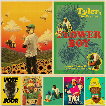Tyler The Creator Flower Boy Band Music Cover Hip Hop Rapper Star Canvas Painting Life Quotes Music Icon Modern Home Decor image