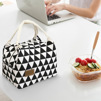 Functional Cooler Lunch Box Portable Insulated Canvas Lunch Bag Portable Thermal Food Picnic Lunch Bags For Women Kids Drop Ship Storage Bags    -