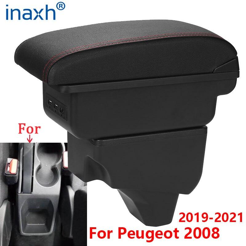 Для Peugeot 2008 подлокотник для Peugeot 208 автомобильный подлокотник 2019 2020 2021 модифицированные детали интерьера ящик хранения аксессуаров USB светод...