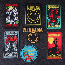 Pulaqi Loch Ness Monster Patches Nirvana Band Patch Embroidered Patches For Clothing Applique Rock Bands Badges Iron on Patches цена и фото