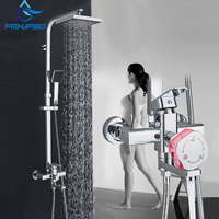 Chrome Black Shower Set Wall Mount Shower Systems rain shower head rotate and liftable bathroom hot cold mixer
