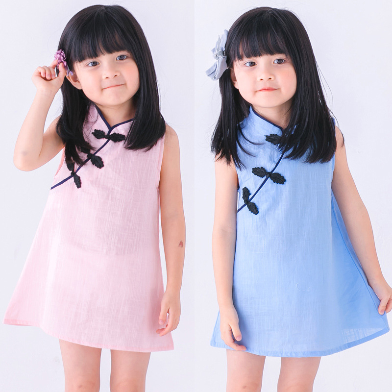 Girls Dresses Clothing Birthday Chinese-Style Toddler White Kids Cotton Children Sleeveless