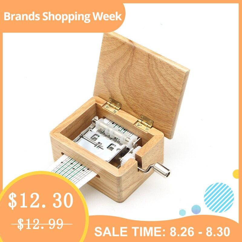 Tom de 15 DIY Mão-dobrado Caixa de Música Caixa De Madeira Com o Furador E Movimentos 10 pcs Fitas de Papel de Música caixa de papel tira