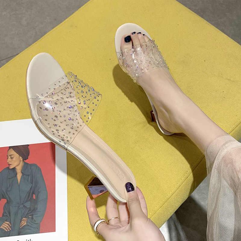 Yeni yaz kadın Bling slaytlar kadın şeffaf pompalar bayanlar tatlı yüksek topuklu ayakkabılar kadın açık sandalet burnu açık 2020
