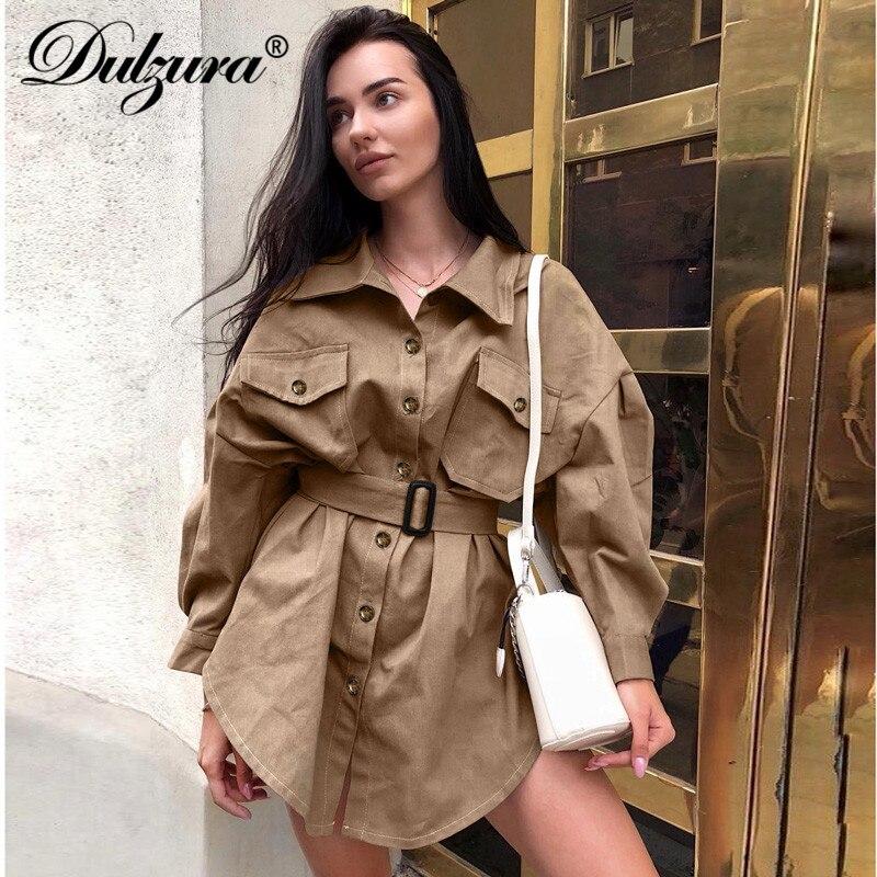 Dulzura 2019 Winter Women Trench Long Coat Jacket Outwear Long Sleeve Belt Button Loose Oversize Streetwear Office Clothes