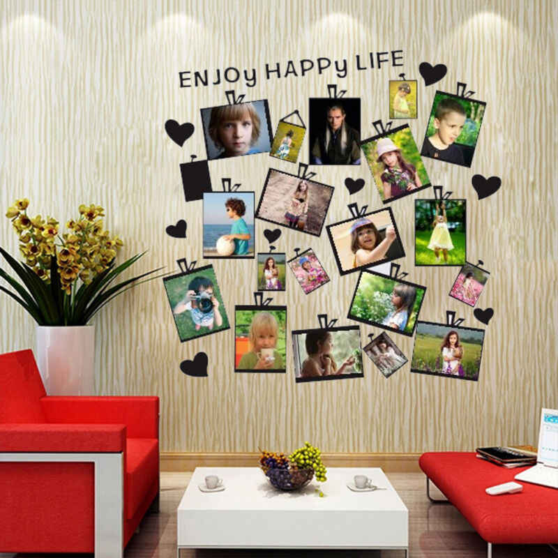 20Pcs Family Picture Photo Frame Wall Sticker Heart Quote Mural Home Decor Decal
