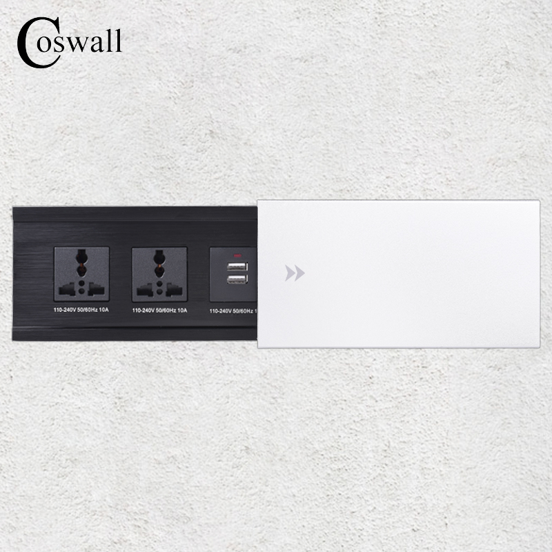 COSWALL All Aluminum Alloy Plate Slide Type Hidden 2 Universal Socket Dual USB Charge Port Office Table Outlet Silver Cover