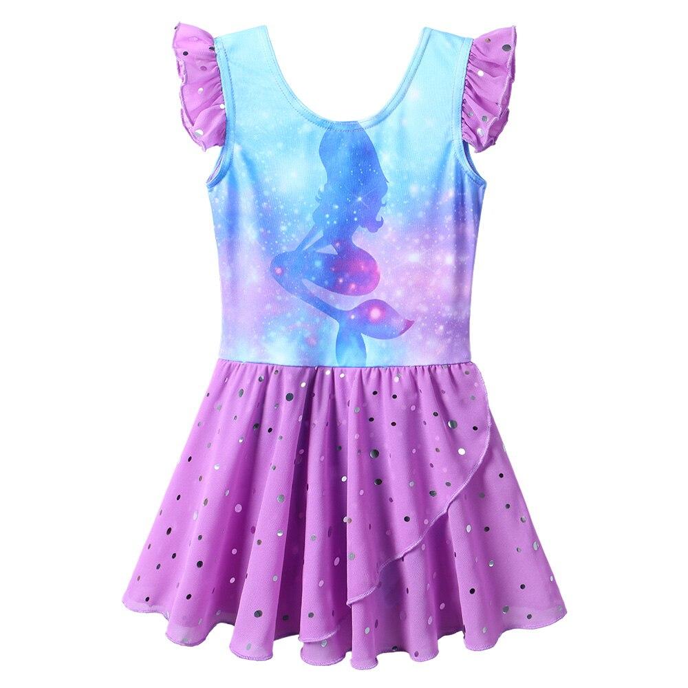BAOHULU Princess Girls Short Sleeve Dance Dress Sequin Bottom Cartoon Girl Print Ballet Skirt Ballerina Dance Wear